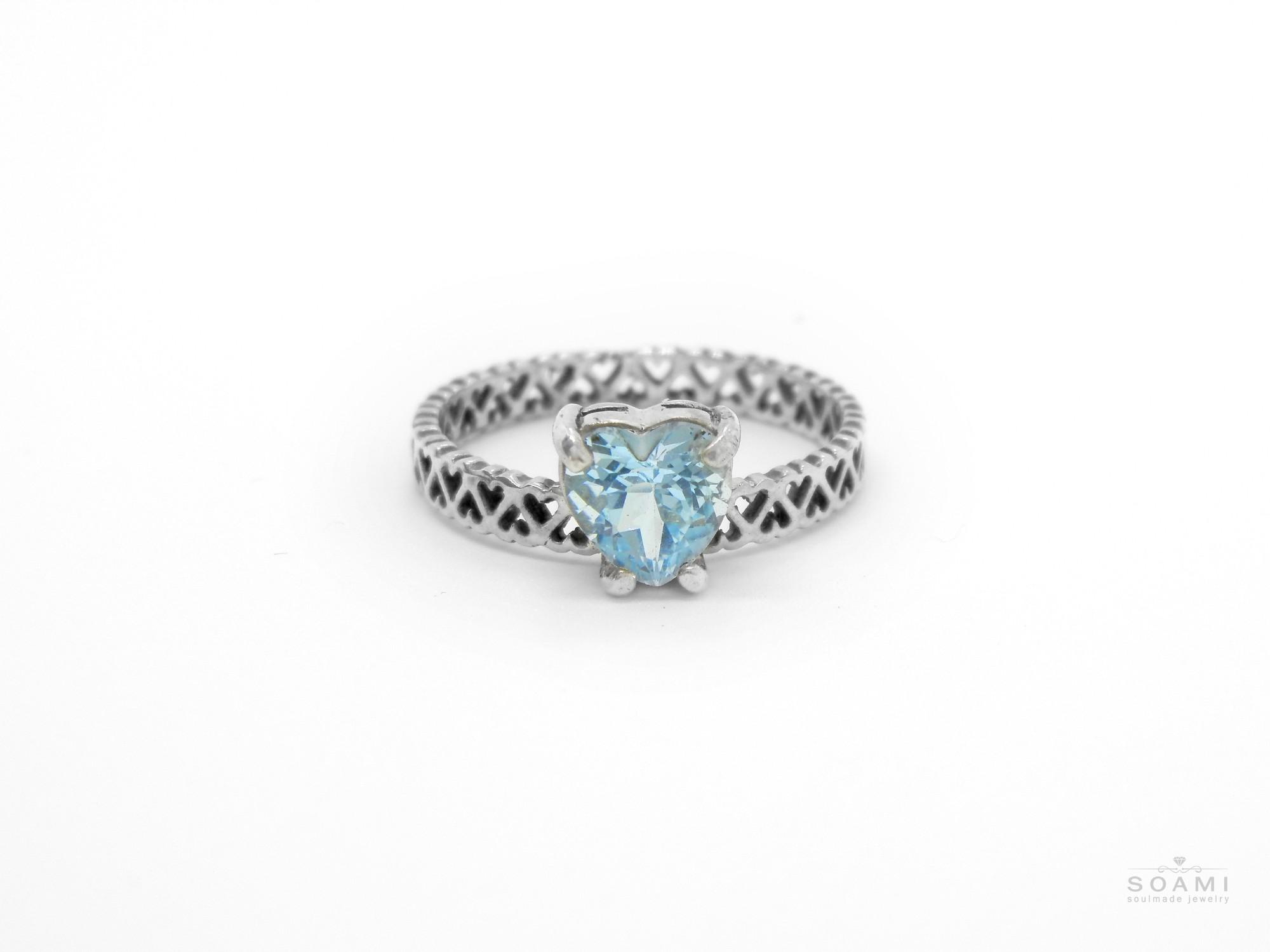 585 zlatý prsten s přírodním Modrým Topasem
