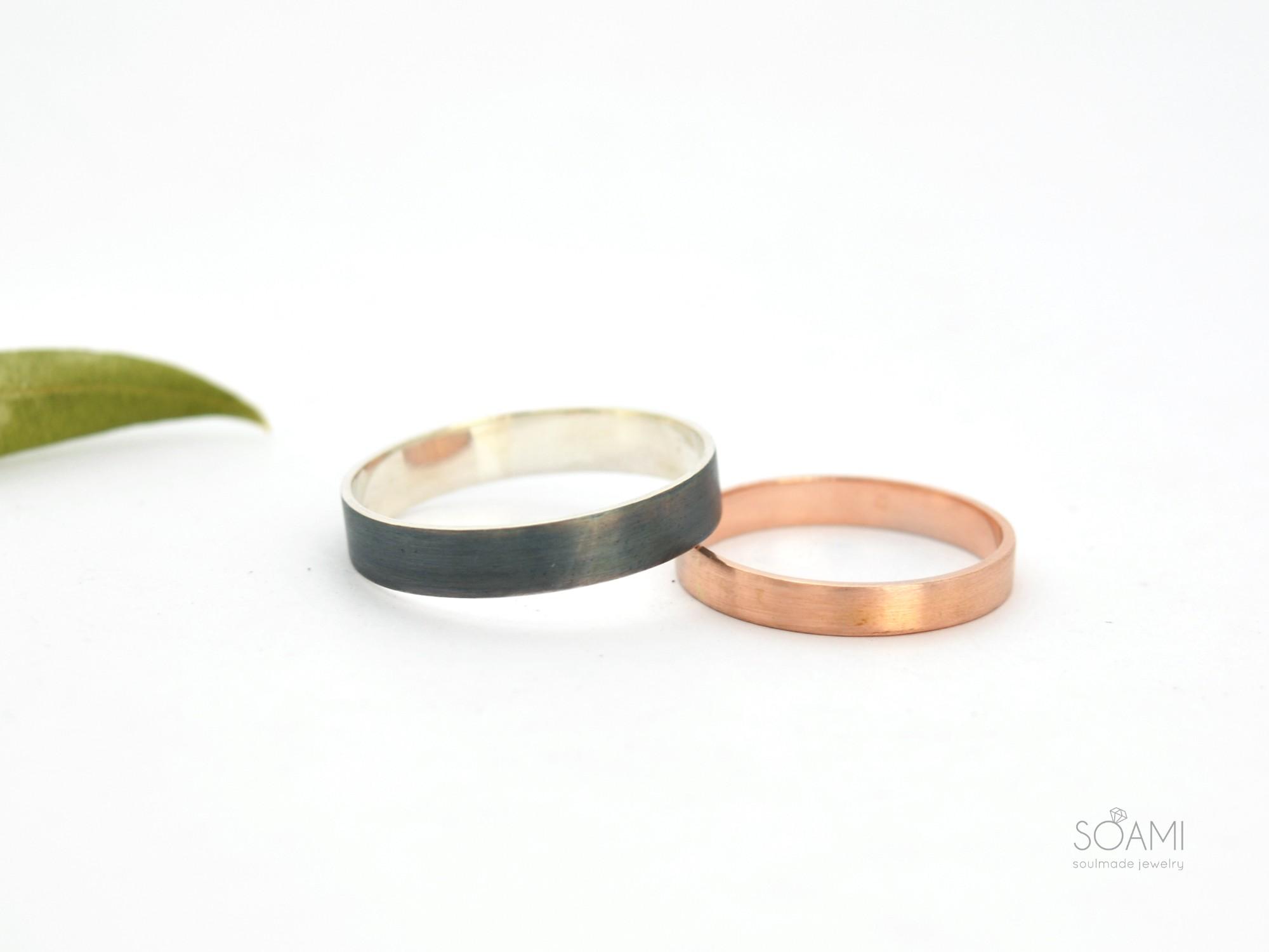 snubní prsteny Black&Rose, 585 zlato a 925 stříbro