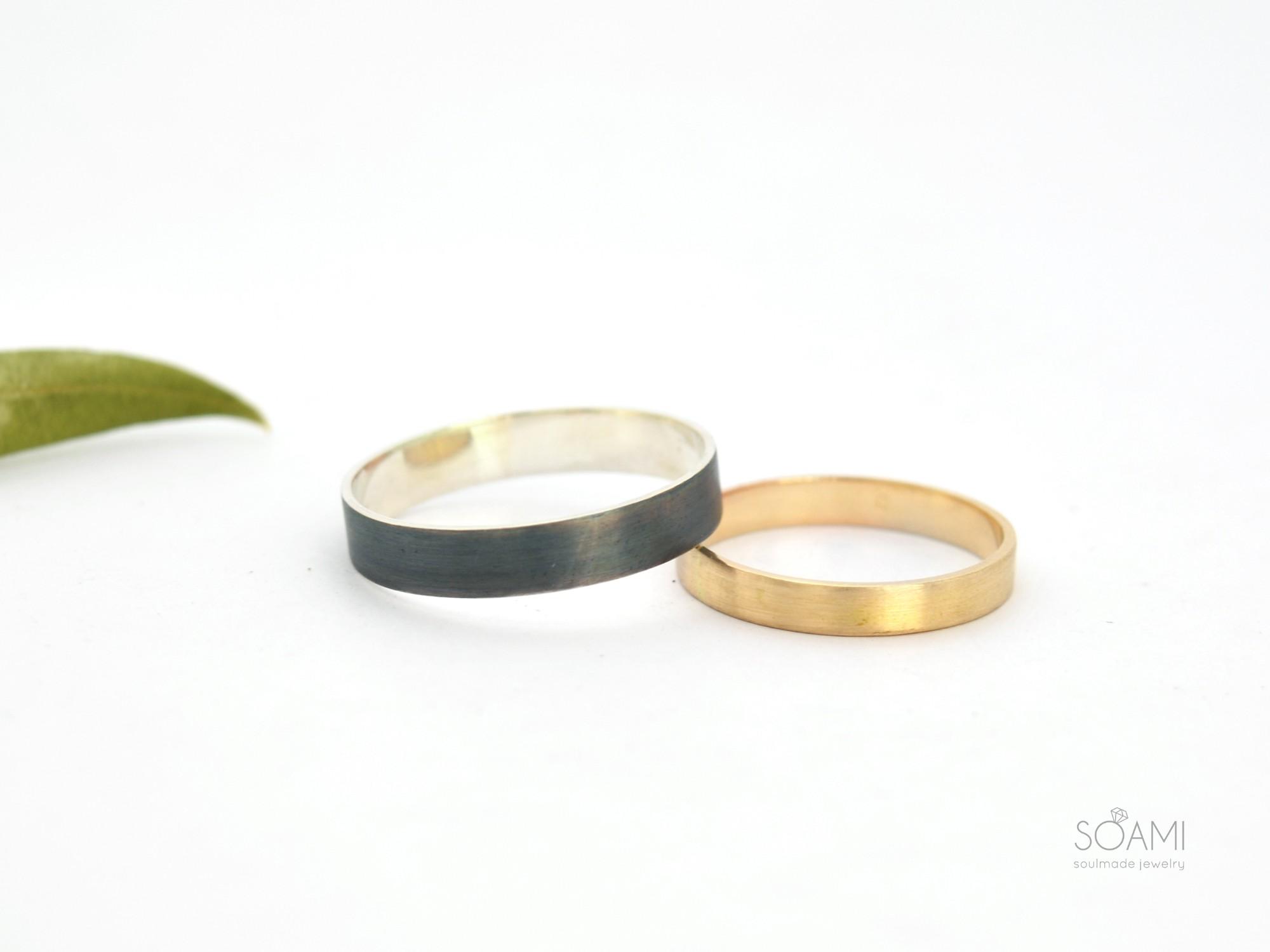 snubní prsteny Day&Night, 585 zlato a 925 stříbro