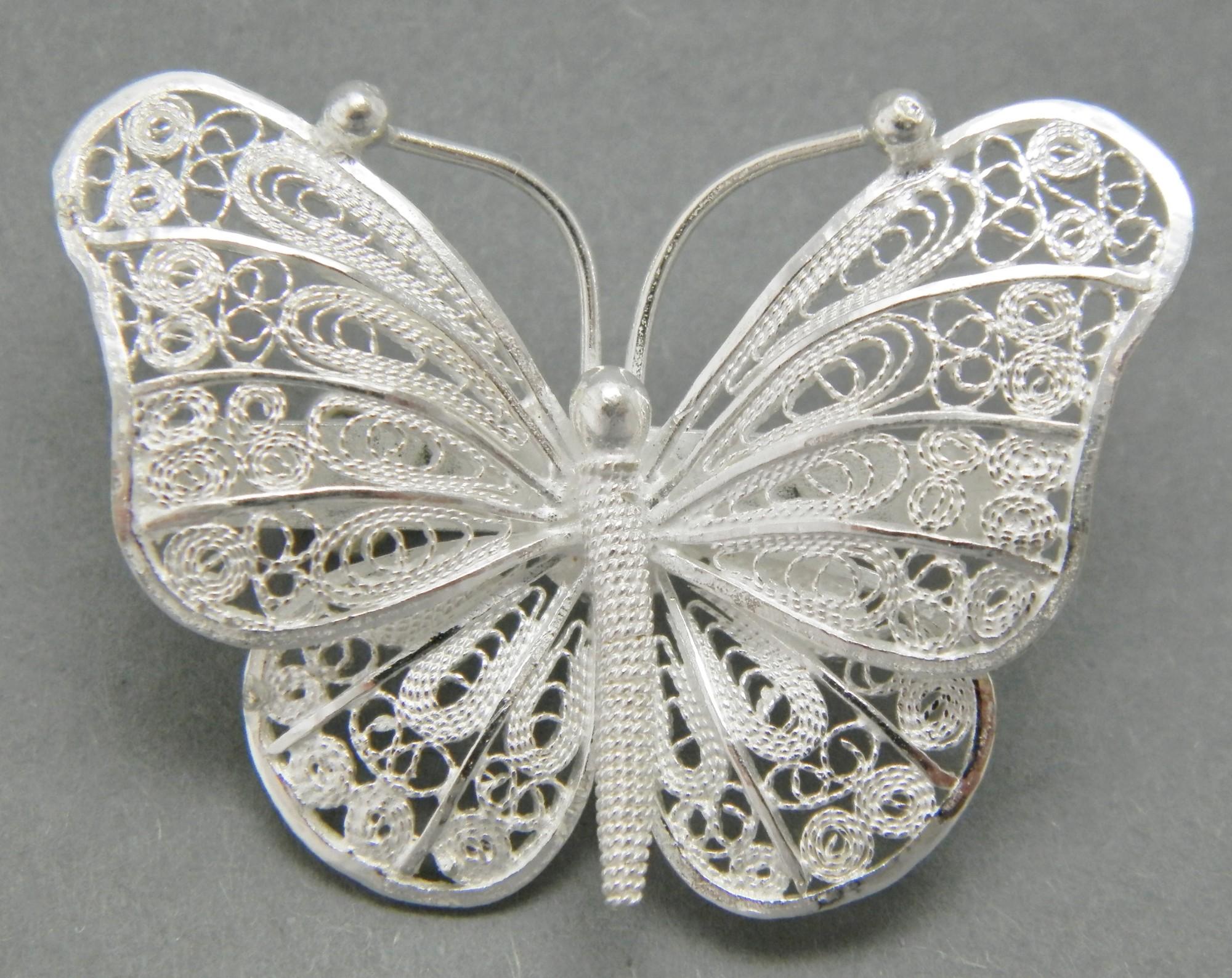 střibrná brož filigránový Motýlek