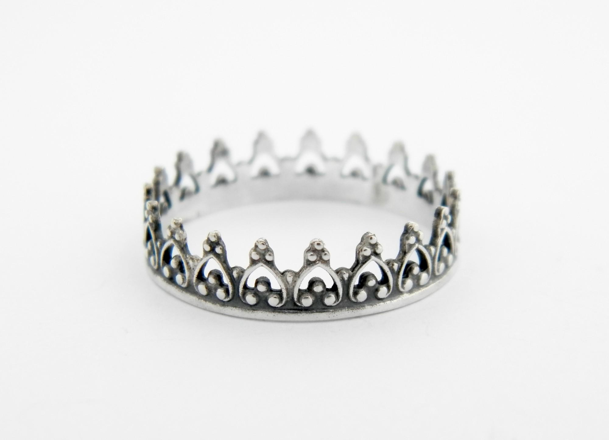 stříbrný prsten Koruna