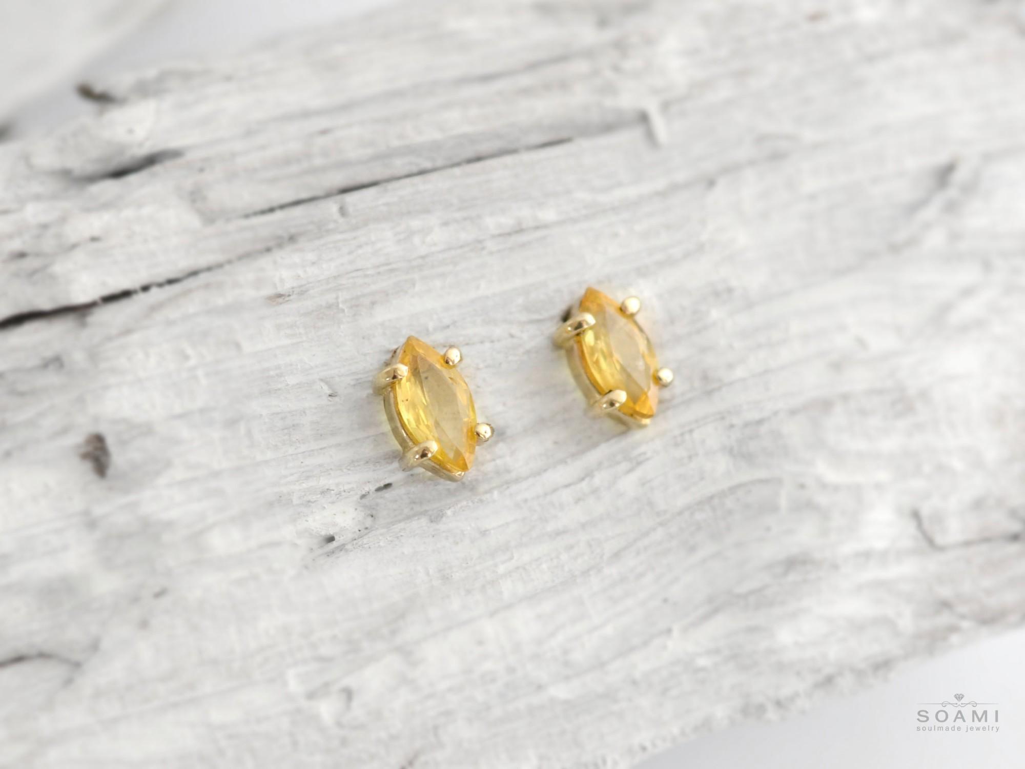 585 zlaté náušnice s přírodním citrínem Oko