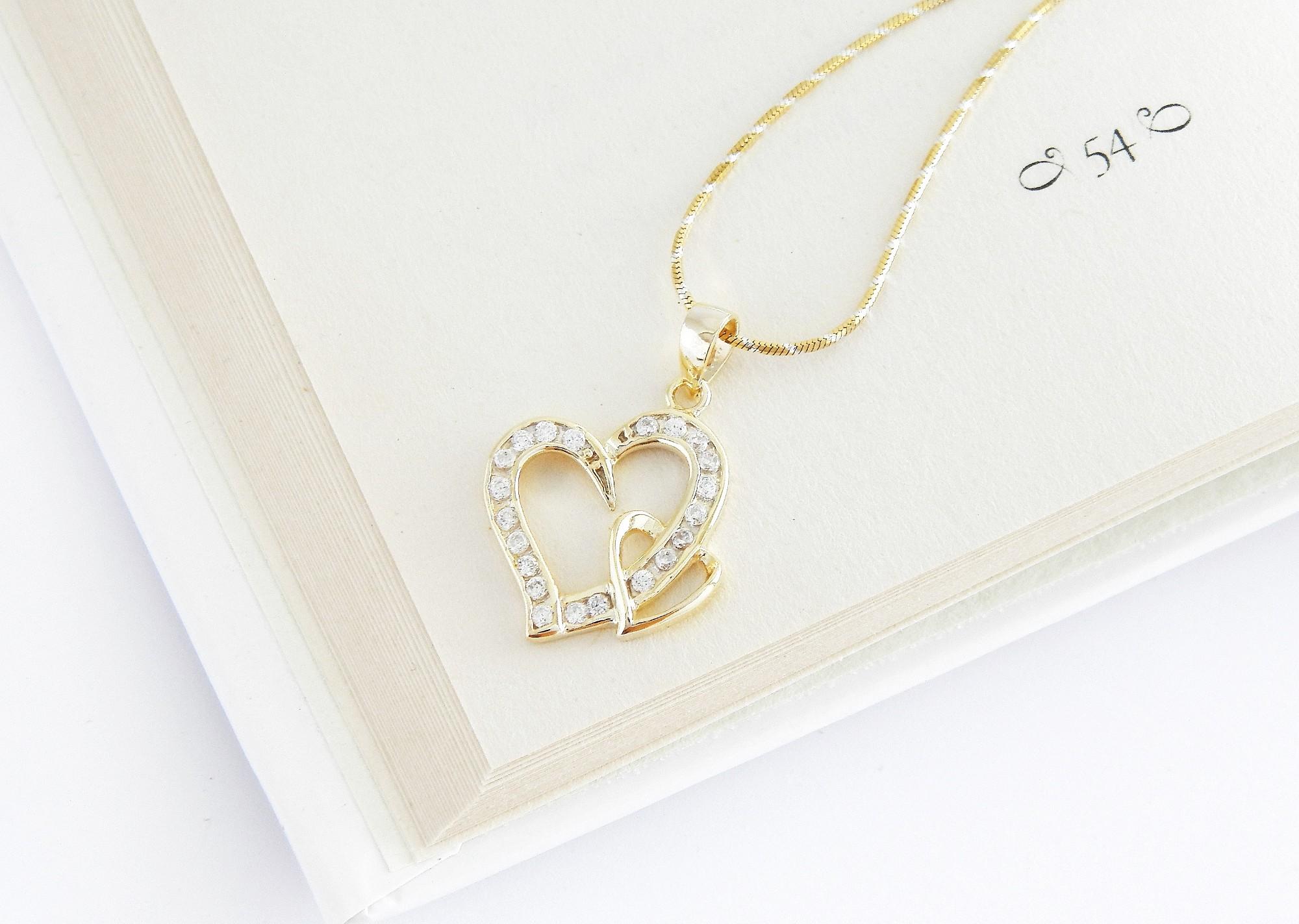 stříbrný pozlacený přívěsek srdce Zamilovanost + řetízek