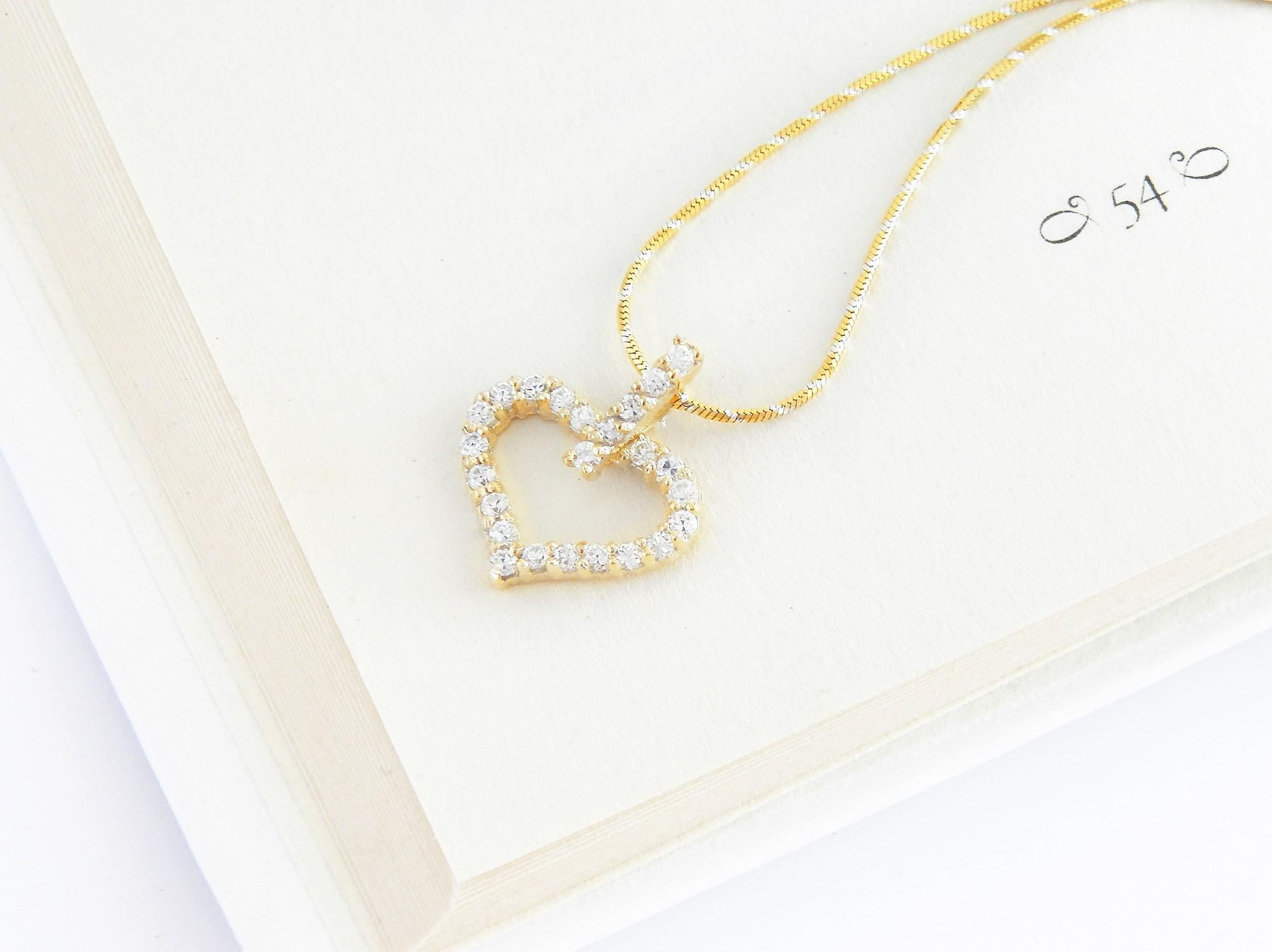 stříbrný pozlacený přívěsek srdce Vášnivé srdce + řetízek