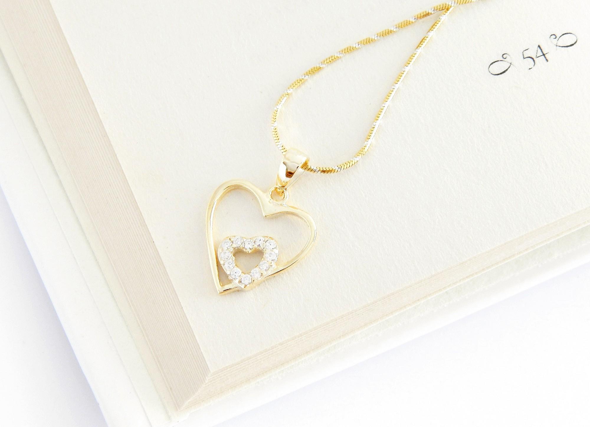 stříbrný pozlacený přívěsek srdec Symptómy lásky + řetízek