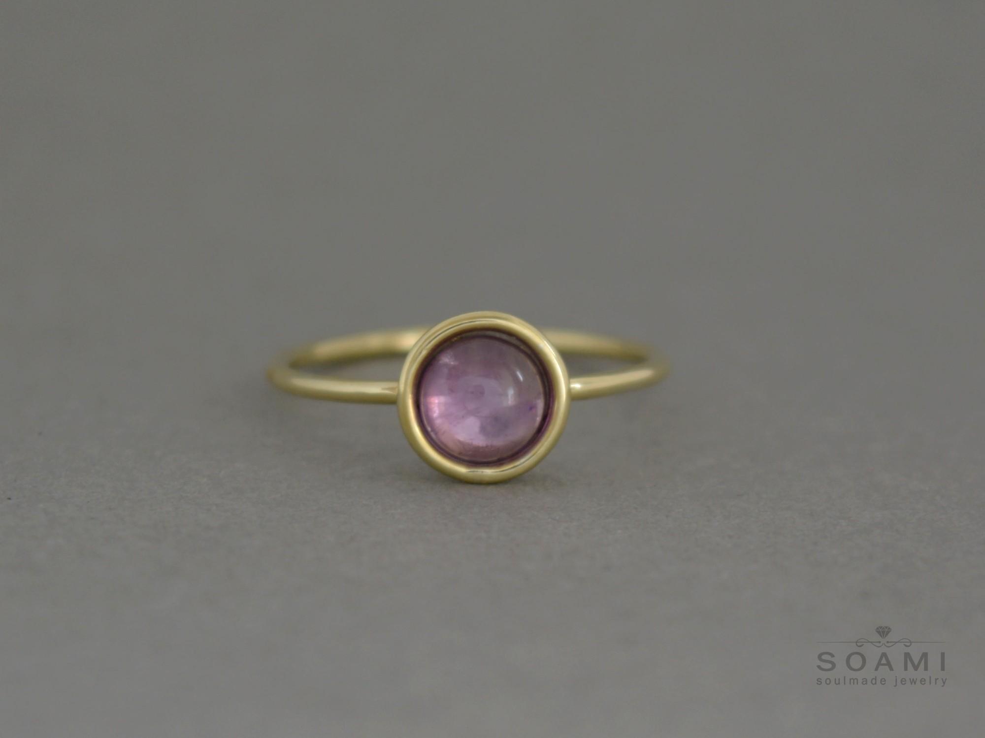 prsten s ametystem Ami, zluté zlato 585, přírodní ametyst