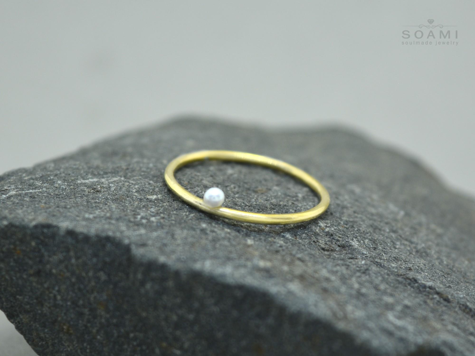 585 zlatý prsten s perlou
